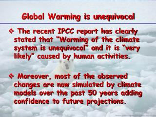 Global Warming is unequivocal