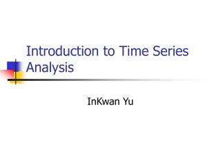 Introduction to Time Series Analysis