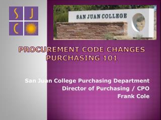 procurement code Changes Purchasing 101