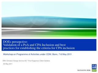 Workshop on Programme of Activities under CDM, Bonn, 7-8 May 2011
