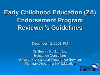 Early Childhood Education (ZA) Endorsement Program Reviewer's Guidelines