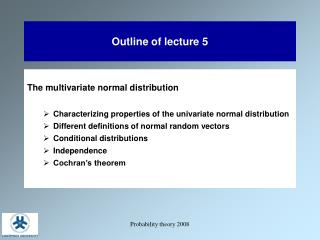 Outline of lecture 5
