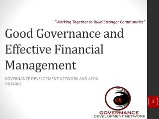 Good Governance and Effective Financial Management