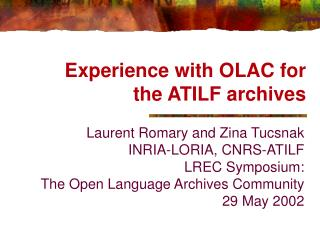 Experience with OLAC for the ATILF archives