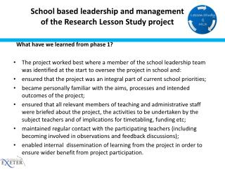 School based leadership and management  of the Research Lesson Study project
