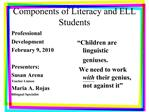 Components of Literacy and ELL Students