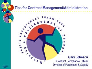 Tips for Contract Management/Administration