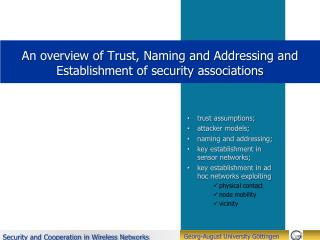An overview of Trust, Naming and Addressing and Establishment  of security associations