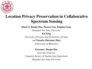 Location Privacy Preservation in Collaborative Spectrum Sensing