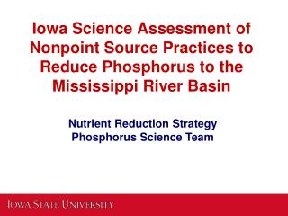 Nutrient Reduction Strategy Phosphorus Science Team