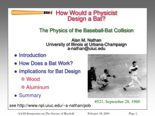 Introduction How Does a Bat Work? Implications for Bat Design  Wood   Aluminum Summary