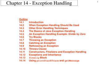 Chapter 14 - Exception Handling