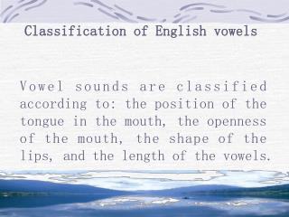 Classification of English vowels