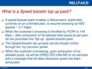 What is a Speed booster top up pack?