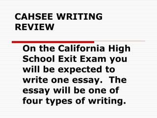 CAHSEE WRITING REVIEW