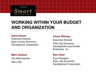 WORKING WITHIN YOUR BUDGET AND ORGANIZATION