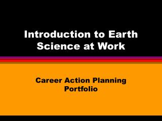 Introduction to Earth Science at Work