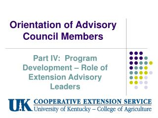 Orientation of Advisory Council Members