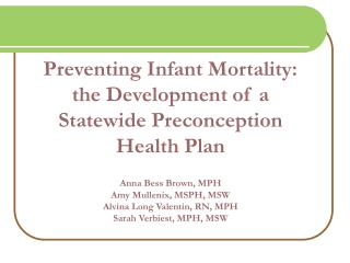 Preventing Infant Mortality: the Development of a Statewide Preconception Health Plan