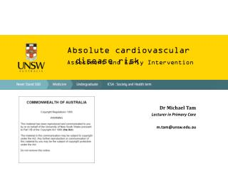 Absolute cardiovascular disease risk