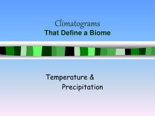 Climatograms That Define a Biome