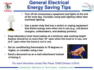 General Electrical  Energy Saving Tips
