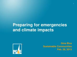 Preparing for emergencies and climate impacts