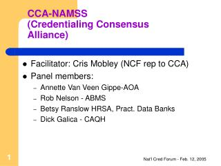 CCA-NAMSS (Credentialing Consensus Alliance)