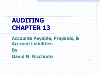 AUDITING CHAPTER 13