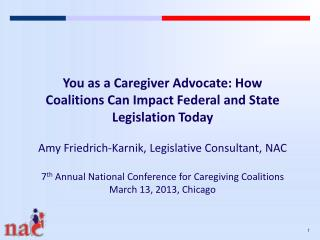 You as a Caregiver Advocate: How Coalitions Can Impact Federal and State Legislation Today