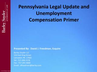 Pennsylvania Legal Update and Unemployment  Compensation Primer