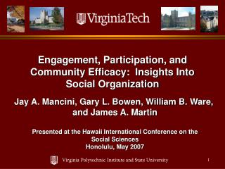 Engagement, Participation, and Community Efficacy:  Insights Into Social Organization