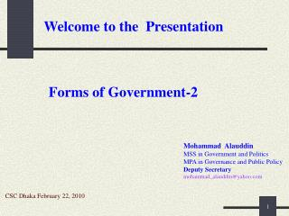 Mohammad  Alauddin MSS in Government and Politics