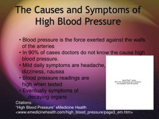 The Causes and Symptoms of High Blood Pressure