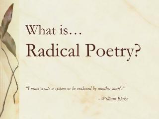 Who isn't a radical?