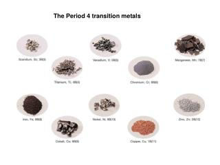 The Period 4 transition metals