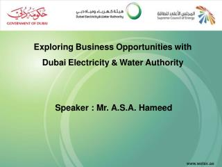 Exploring Business Opportunities with Dubai Electricity  &  Water Authority