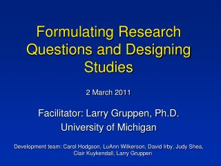 Formulating Research Questions and Designing Studies