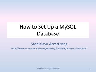 How to Set Up a  MySQL  Database
