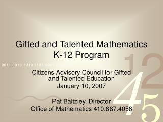 Gifted and Talented Mathematics K-12 Program