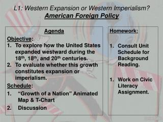 L1:  Western Expansion or Western Imperialism? American Foreign Policy