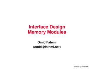 Interface Design Memory Modules