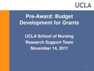 Pre-Award: Budget Development for Grants