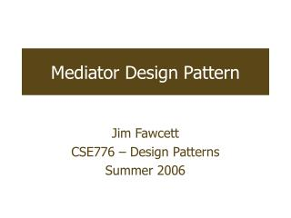 Mediator Design Pattern