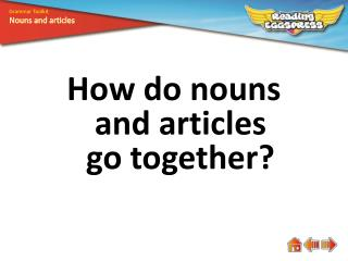 How do nouns and articles go together?