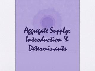 Aggregate Supply: Introduction & Determinants