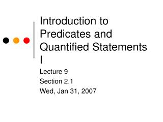 Introduction to Predicates and Quantified Statements I
