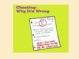 Cheating can get you in serious trouble Cheating is unfair to you