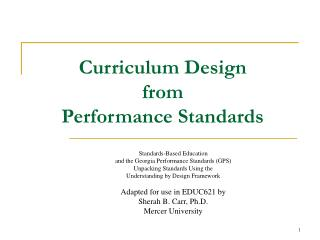 Curriculum Design  from  Performance Standards