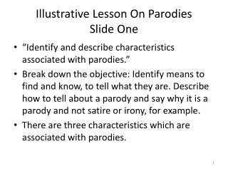 Illustrative Lesson On Parodies Slide One